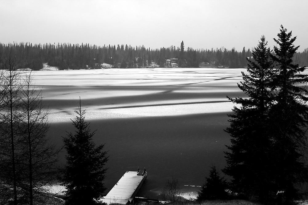 photoblog image The First Snow is Falling On the Lake Today