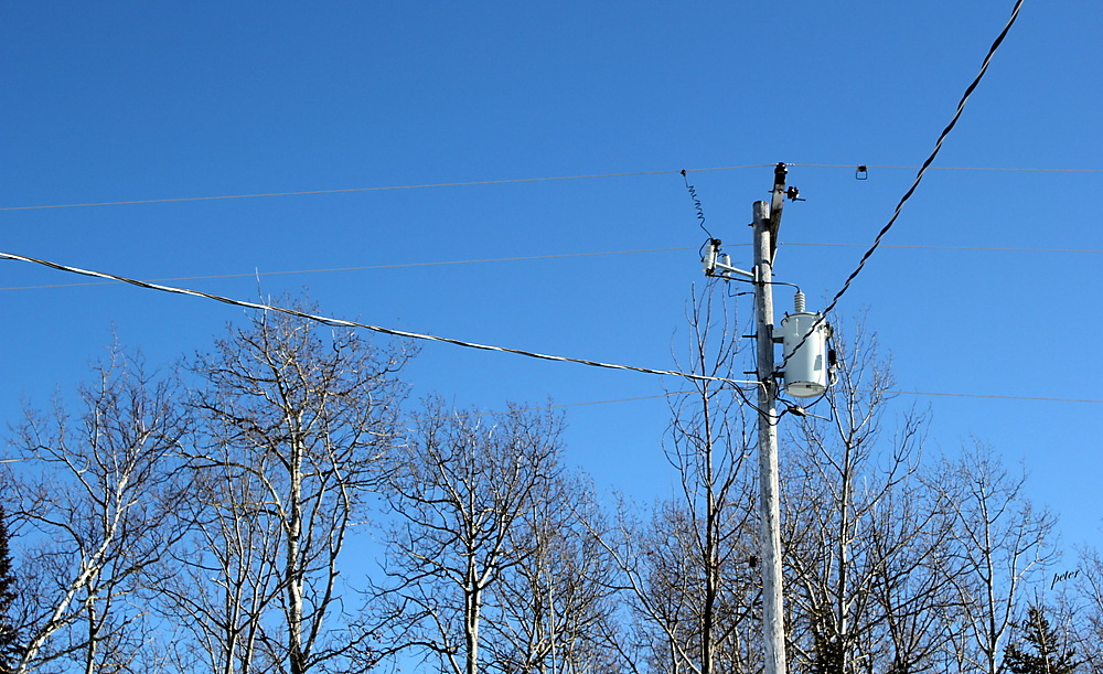 photoblog image Transformer and Hydro Lines up at the Road